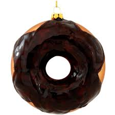 exclusive chocolate frosted donut glass ornament food beverage