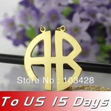 monogrammed pendant freeshipping 2 letters gold color block monogram necklace 2