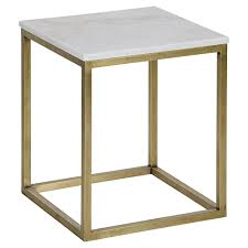 Brass Side Table Thurston Modern Brass Metal Cube White Quartz Side Table 18h