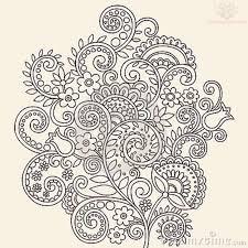vine flowers paisley pattern tattoo design beer label