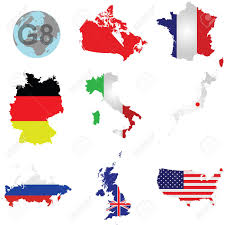 Excelsior Flag Flags Of The G8 Member Countries Overlaid On Outline Map Isolated