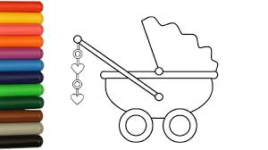 how to color baby stroller colouring book for kids learning