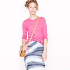 tippi sweater j crew sweater paired with striped skirt style file
