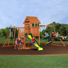 best wooden swing set backyard sets the site with monkey bars