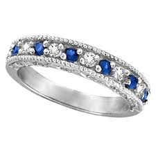 blue sapphires rings images Designer diamond and blue sapphire ring band 14k white gold 0 59ct jpg