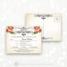 Invitation Reply Card Printable Rsvp Card Instant Download Vintage Roses Reply Card