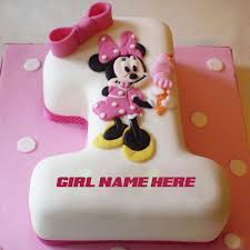 Happy 1st Birthday Minnie Mouse Cake For Kids With Name
