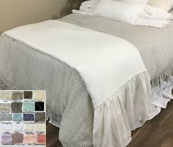 linen long ruffle bed scarf bed runner multiple colors awe so
