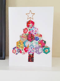 diy hexie christmas tree card by mad for fabric use up your