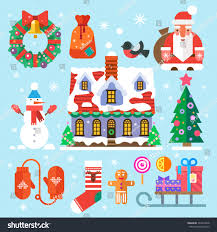 symbols new year christmas santa claus stock vector 223014328