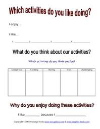 esl hobbies activities holiday fun english vocabulary