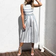 cotton jumpsuit casual sleeveless striped cotton linen backless wide leg