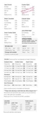 hair salons jc penny price list salon price list idea a good guide to start with hair salon