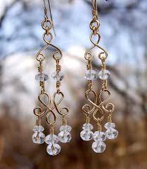 handmade chandelier earrings crafted with sterling silver 14kt