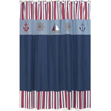 Navy And White Striped Shower Curtain Nautical Sailboats Fabric Bath Shower Curtain Navy Blue Red