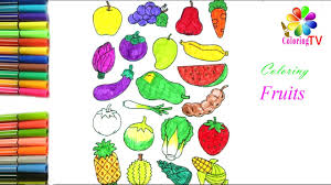 fruits and vegetables coloring pages fruit names kids learning