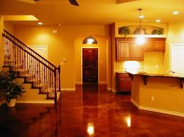 impressive glossy finished concrete flooring with pattern for