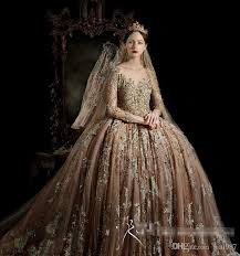 gold wedding dresses royal house vintage sleeve wedding gowns 2017 high quality