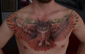 32 flying owl tattoos on chest