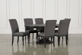 caira black 7 piece dining set w upholstered side chairs living