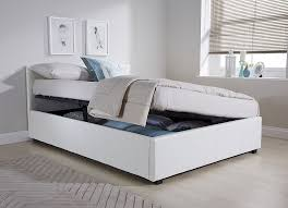 3 Quarter Bed Frame Side Lift Ottoman Storage Three Quarter 3 4 Bed Frame In White