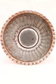 Pedestal Bowls For Centerpieces Vintage Copper Flower Bowl Rustic Silver Wash Pedestal