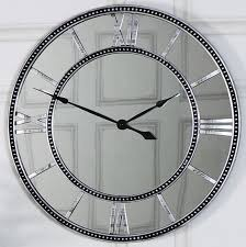 large wall clock large mirrored skeleton style wall clock with roman numerals