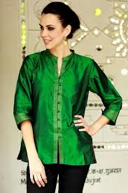 green silk blouse s embroidered green silk tunic indian emerald novica