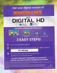 free despicable me 2 digital download code other dvds u0026 movies