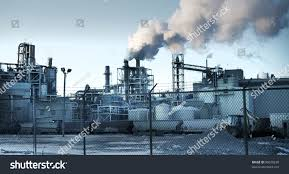 Industrial Theme by Factory Panorama Sunset Industrial Photo Theme Stock Photo