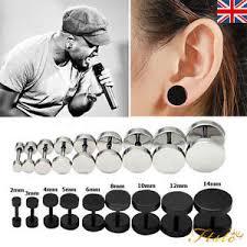 mens ear studs 1pair 2pcs unisex mens barbell stainless steel ear