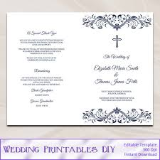 wedding church programs catholic wedding program template diy navy blue cross