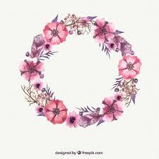 pink flower watercolor pink flower wreath vector free