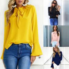 uk womens long sleeve casual loose blouse top ladies ol work t