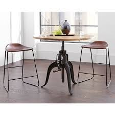 round bar table and stools industrial style adjustable crank round bar table with leather