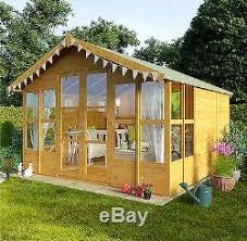 Garden Shed Summer House - wooden summer house large traditional shed cabin overhang t u0026g
