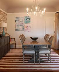 chic trestle table in dining room eclectic with painted dining