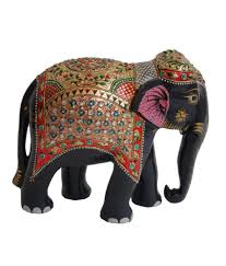 crafts gallery wooden elephant statue gold painted sculpture