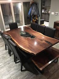Dining Table Natural Wood Live Edge Harvest Tables Tree Green Team Collingwood Ontario