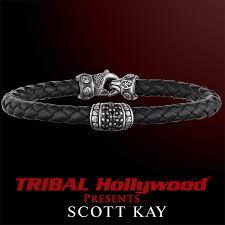leather bracelet with sterling silver images Scott kay leather bracelets for men tribal hollywood png