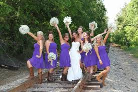 trendy bridesmaid short styling with cowboy boots idea