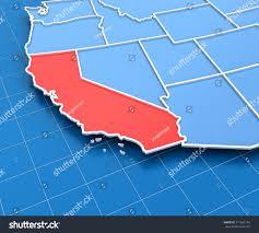 3d render usa map california state stock illustration 271062134