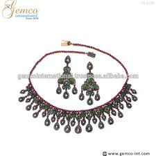 emerald necklace sets images Designs gold silver diamond ruby emerald necklace earrings jpg