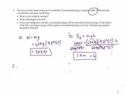 7 1 potential and kinetic energy handout answers explained youtube