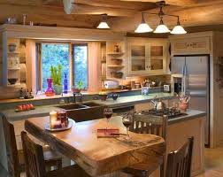 Log Cabin Kitchen Ideas Slab Counter Very Cool Probably Not Very Practical Cabin