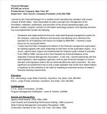 Financial Manager Resume Sample by Sample Manager Resume Template 9 Free Samples Examples Format