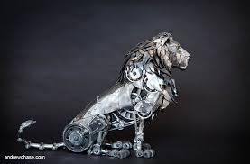 metal lion sculpture andrew mechanical articulated lion sculpture