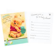 winnie the pooh design for your baby shower invitations