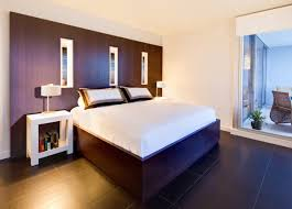 Headboards With Built In Lights Apartment Bedroom White Stain Wall Features Varnished Wood Built