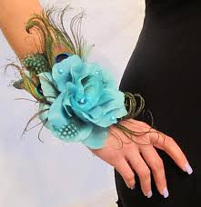 turquoise corsage blue peacock corsage and boutonniere set